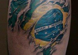 Brasil Acima de Tudo Tatuagem na Pele de Todos