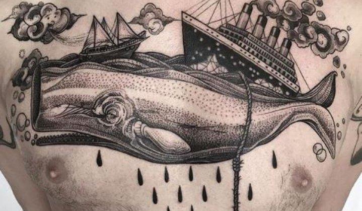 Lindas Tatuagens Moby Dick a Baleia Assassina e seus Significados