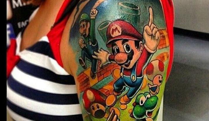 Tatuagens do Super Mario Um ícone dos Games